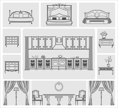domestic room: Furniture icons