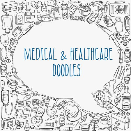 medicine icons: medicine doodle background