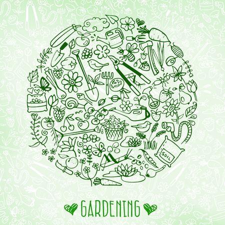 hand drawn garden background Vectores
