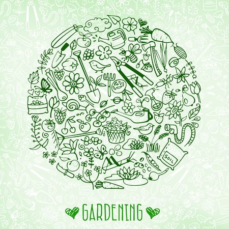 gardening tools: hand drawn garden background Illustration