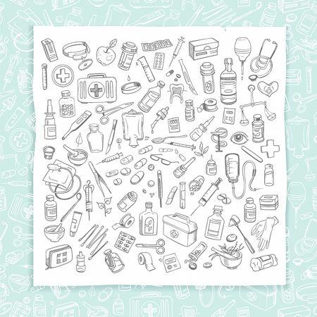 pressure bottle: Health care and medicine doodle icon set