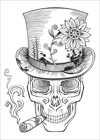 smoking a cigar: day of the dead, baron samedi drawing
