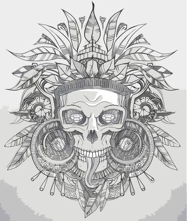 indian old man: Indian aztec skull hand drawn vector illustration