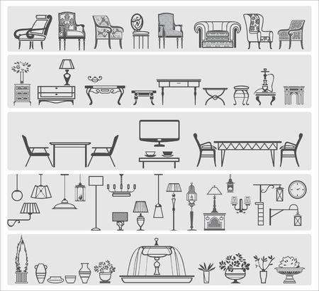 icons of interior elements Ilustração