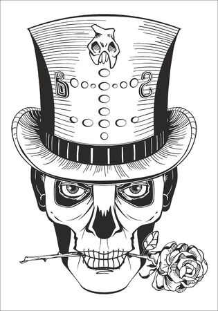 halloween tee shirt: day of the dead, baron samedi drawing