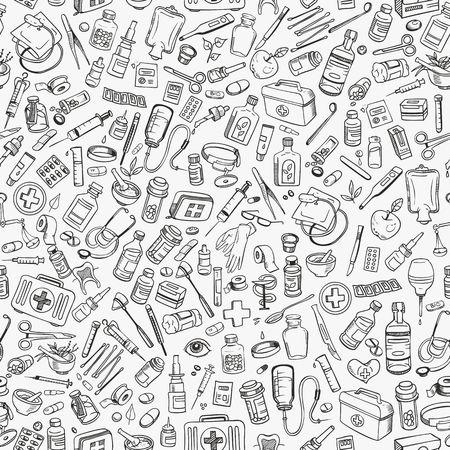 egészségügyi ellátás: Egészségügyi ellátás kézzel rajzolt zökkenőmentes háttér