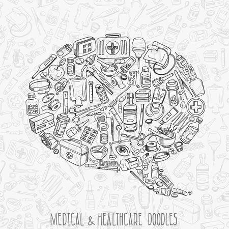 egészségügyi ellátás: Egészségügyi ellátás kézzel rajzolt háttér Illusztráció