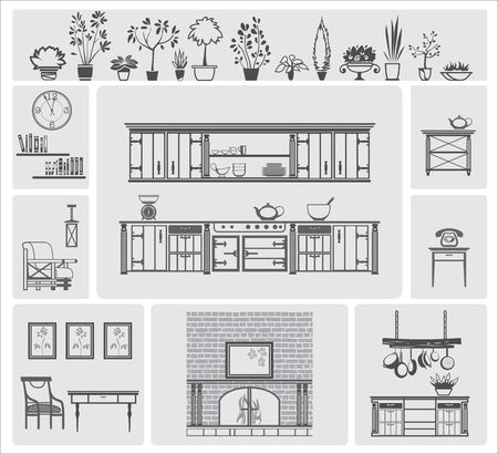 livingroom: icons of different kitchen elements