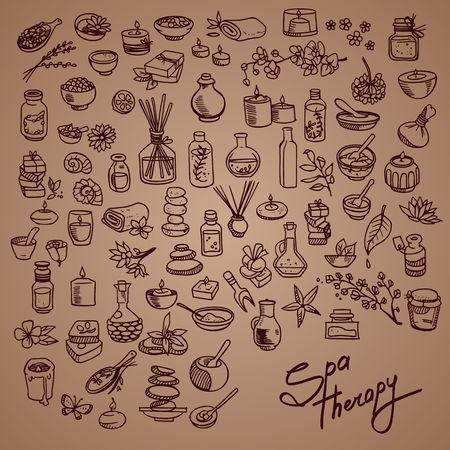 spa still life: spa doodle icons set