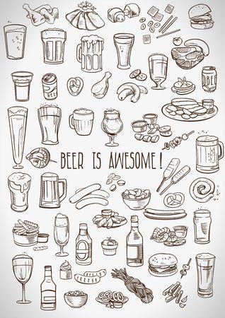 Skizzen Bier und Snacks Standard-Bild - 40901616