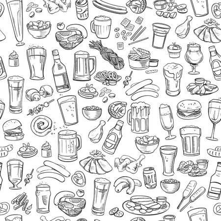 sketchy beer and snacks, seamless background