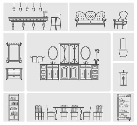 bookcases: Grey home furniture silhouette vector illustration set