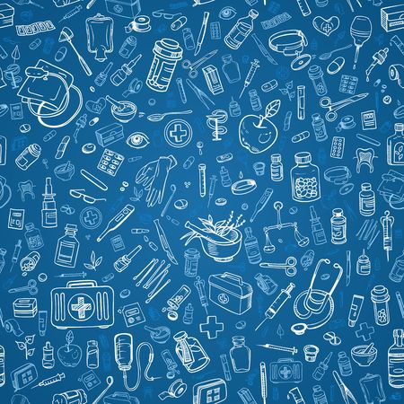 doctors tools: seamless health care and medicine doodle background