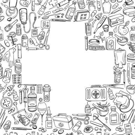 medicina: Atención de la salud y de fondo la medicina del doodle. Ilustración vectorial