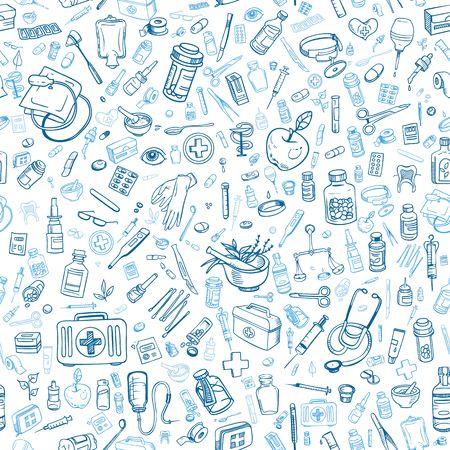 Gesundheitsversorgung Hand gezeichnet Seamess Hintergrund, Vektor-
