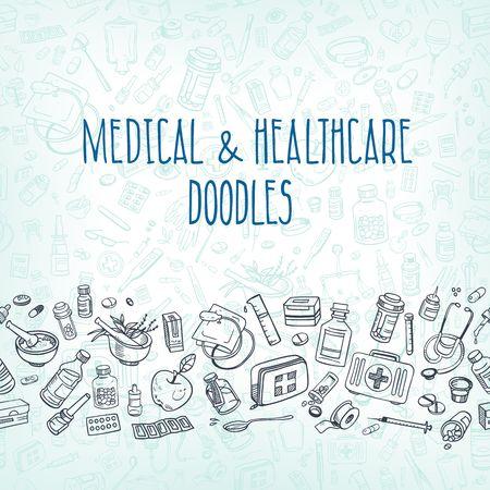 medicine background: Health care and medicine doodle background. Vector illustration
