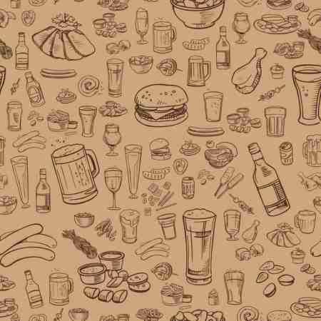 schetsmatig bier en snacks vector naadloze achtergrond