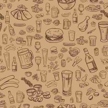 sketchy beer and snacks vector seamless background