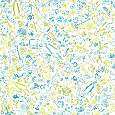 hand drawn garden icons seamless background vector illustration Vector