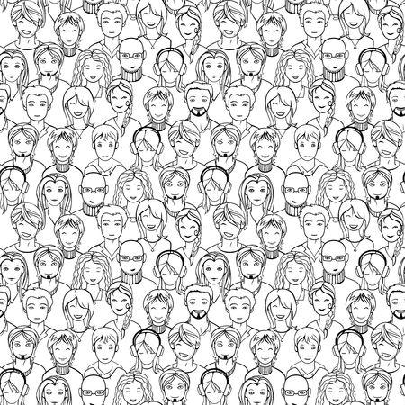 naadloze achtergrond met menselijke gezichten Stock Illustratie