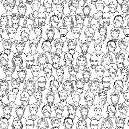 seamless background with human faces