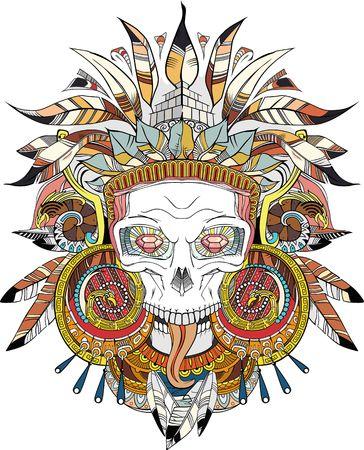 skull tattoo design: Aztec indian Skull Illustration