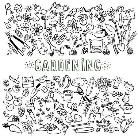 hand drawn garden icons Vector