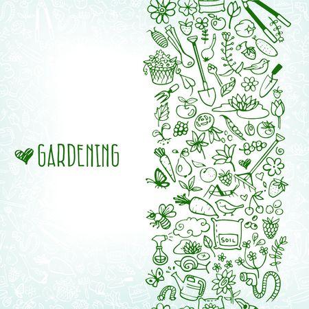 fertilizers: hand drawn garden icons background Illustration