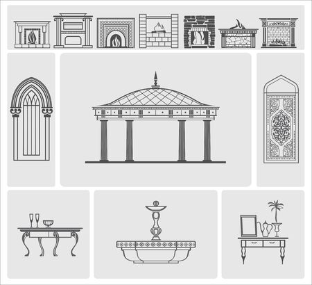 architectural elements: icons of fireplaces and architectural elements Illustration