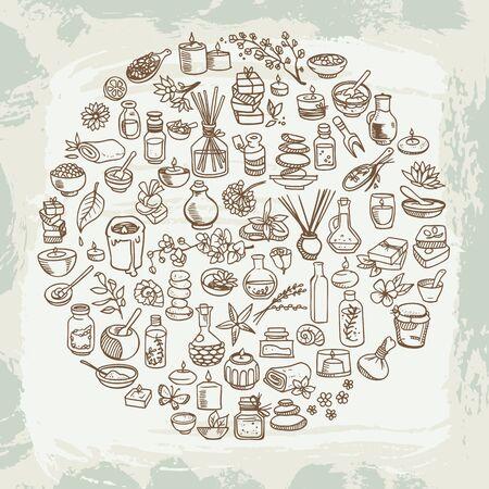spa doodle icons set