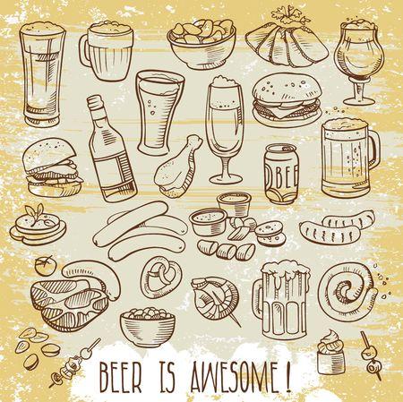 carne de pollo: cerveza vagos y aperitivos