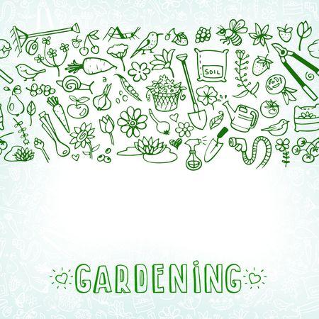 hand drawn garden icons background Illustration