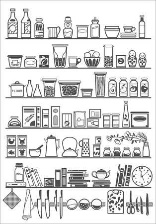 keuken of pantry planken Stock Illustratie