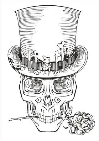 halloween tee shirt: human skull in a top hat