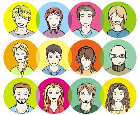 unrecognizable: unrecognizable men and women faces vector illustration
