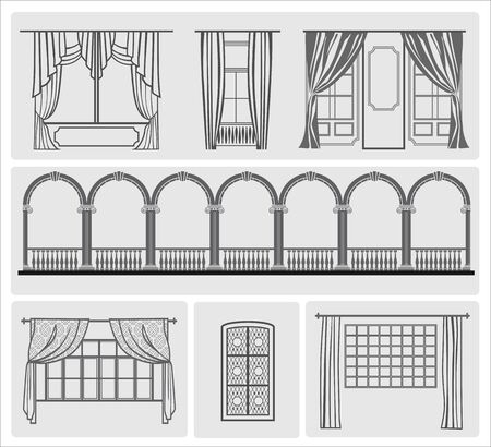balustrade: icons of window with curtains vector illustration