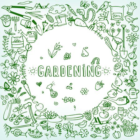 gardening hose: hand drawn garden icons background vector illustration Illustration