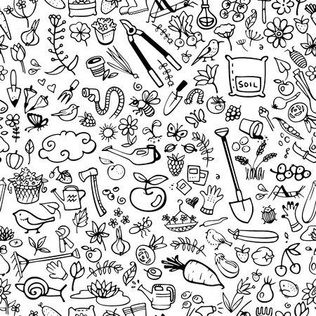 fertilizers: hand drawn garden icons seamless background vector illustration Illustration
