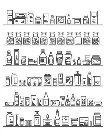 Medische en gezondheidszorg Icons apotheek planken Stock Illustratie