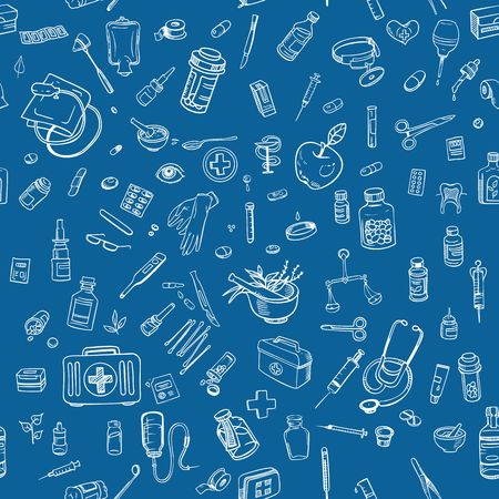 ampule: Health care hand drawn seamess background vector Illustration