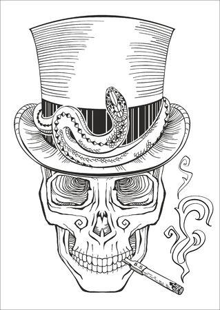 haiti: human skull in a top hat baron samedi