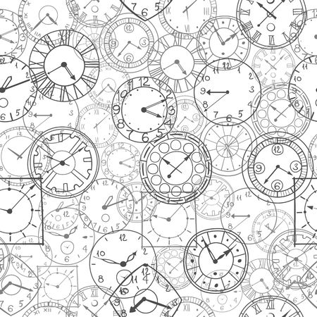 clockworks: vector doodle clock simple hand drawn seamless background