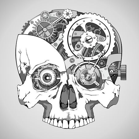 human skull with clockwork mechanism inside vector 矢量图像