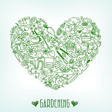 fertilizers: hand drawn garden icons background vector illustration Illustration