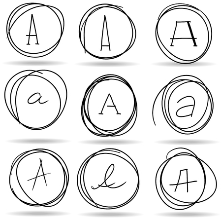 highlights: scribble circles or highlights with A letters, vector Illustration