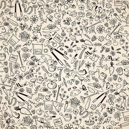 secateurs: hand drawn garden icons seamless background, vector illustration Illustration