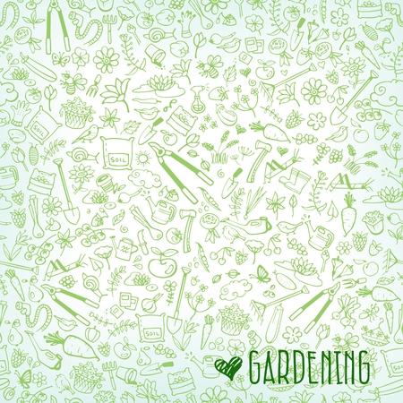 ant leaf: dibujado a mano iconos jardín de fondo, ilustración vectorial Vectores
