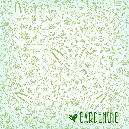 garden hose: hand drawn garden icons background, vector illustration