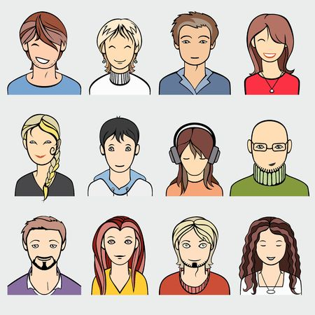 unrecognizable: unrecognizable men and women faces, vector illustration