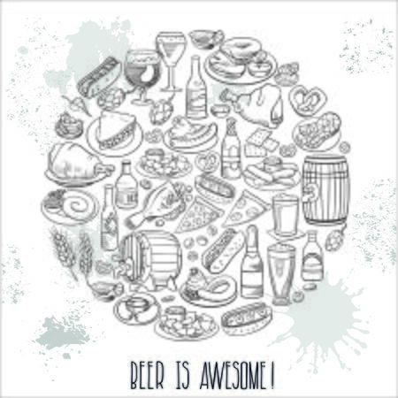 nachos: hand drawn beer bottles and bar food